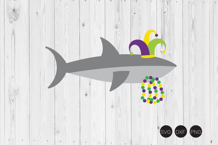 Mardi Gras Shark SVG example image 1