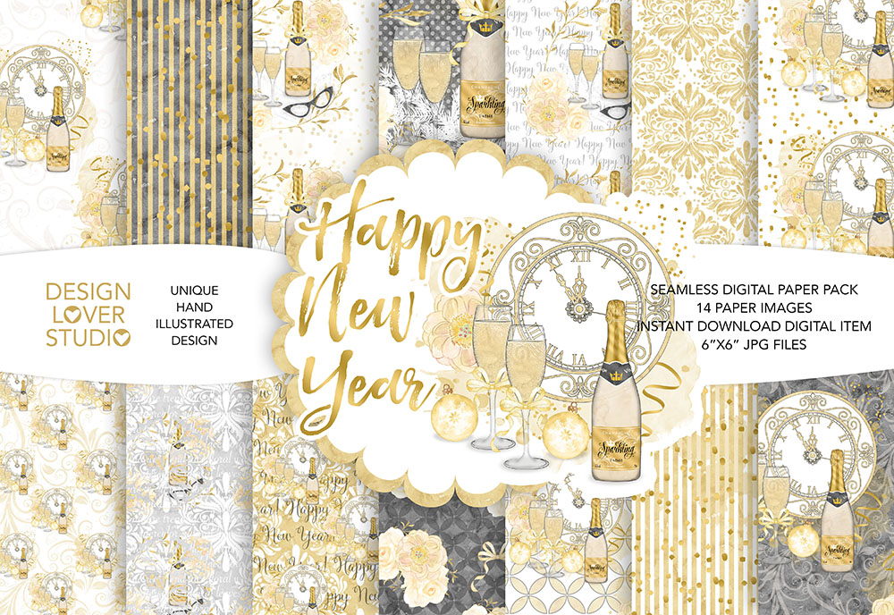 Watercolor Happy New Year digital paper pack example image 1