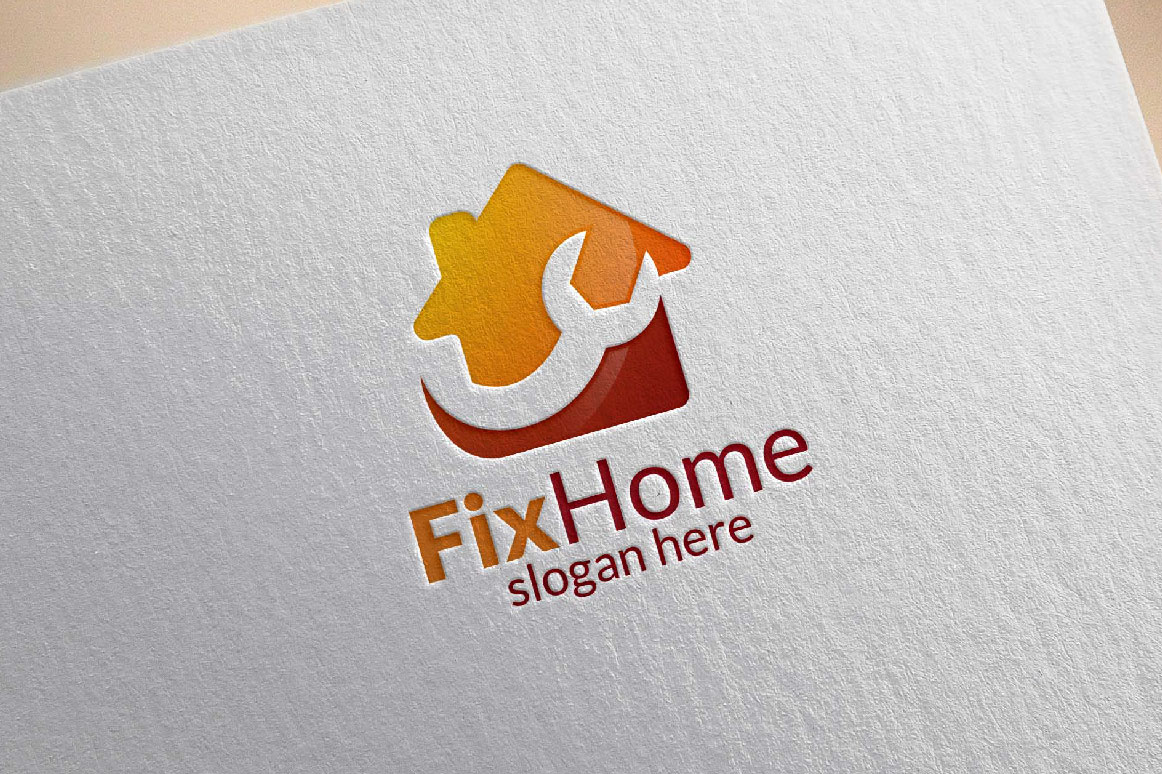 Real estate Logo, Fix Home Vector Logo Design suitable for architecture,  handyman,bricolage,Diy,and for another application company example image 5