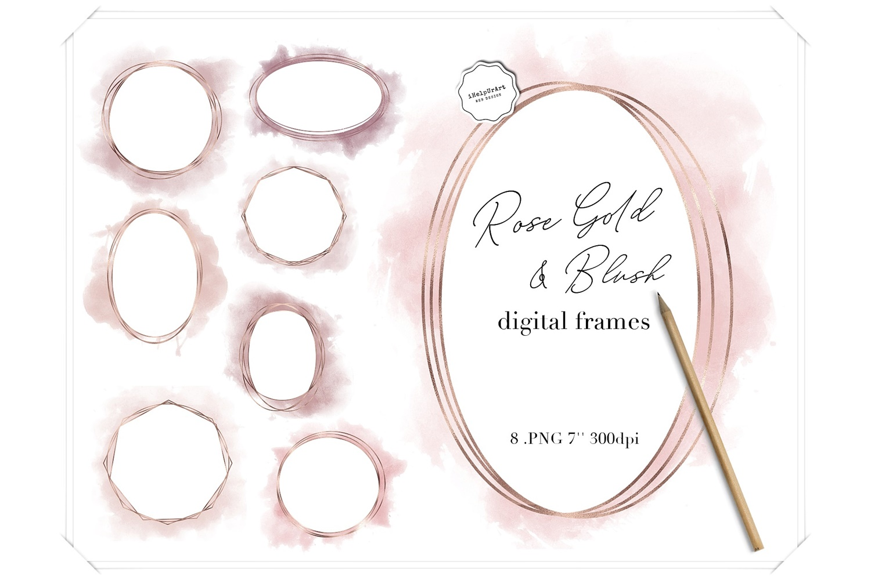 Rose Gold and Blush Pink Watercolor Polygonal Circle Frames example image 1