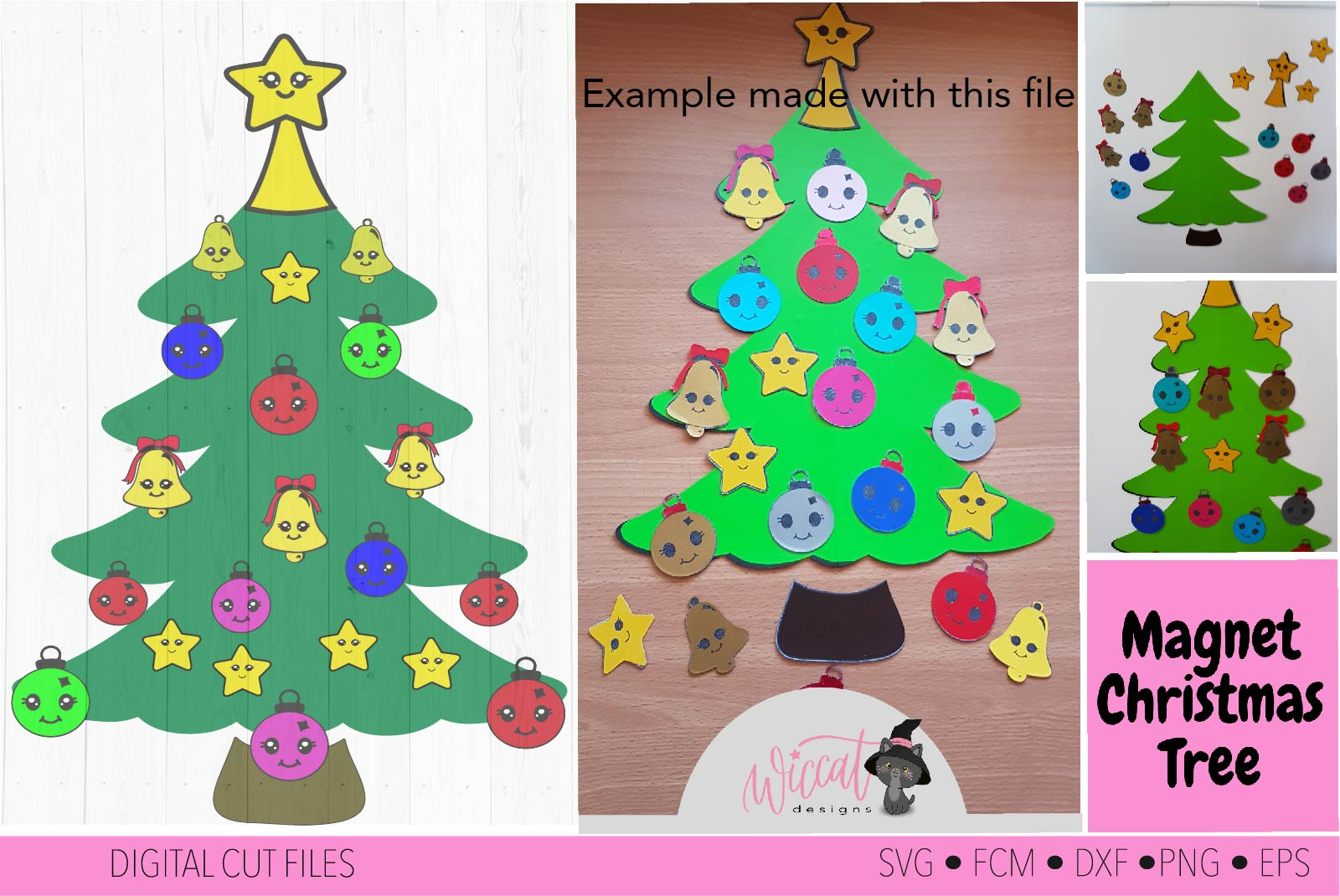 Christmas Kawaii tree, Kawaii Ornaments svg example image 1