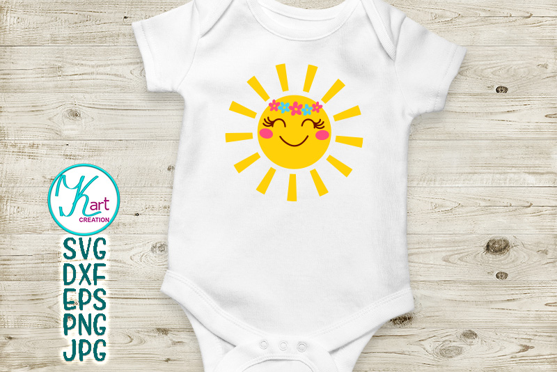 Sun with flowers SVG DXF cutting file Toddler shirt design example image 2