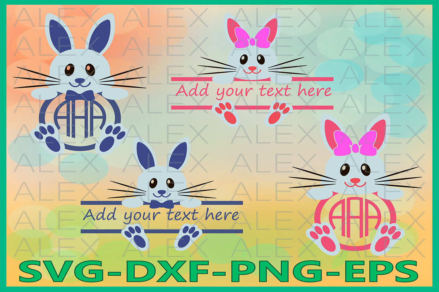 Bunny Svg, Bunny Split monogram SVG, Easter SVG, Easter Cut example image 1