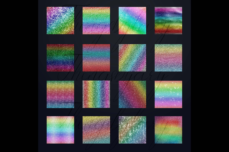 30 Rainbow Shimmering Fairy Unicorn Glitter Digital Papers example image 9