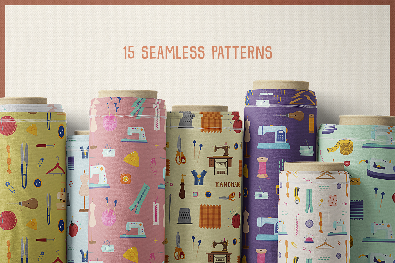 Sewing Starter Kit Vector Clipart and Seamless Pattern example image 6