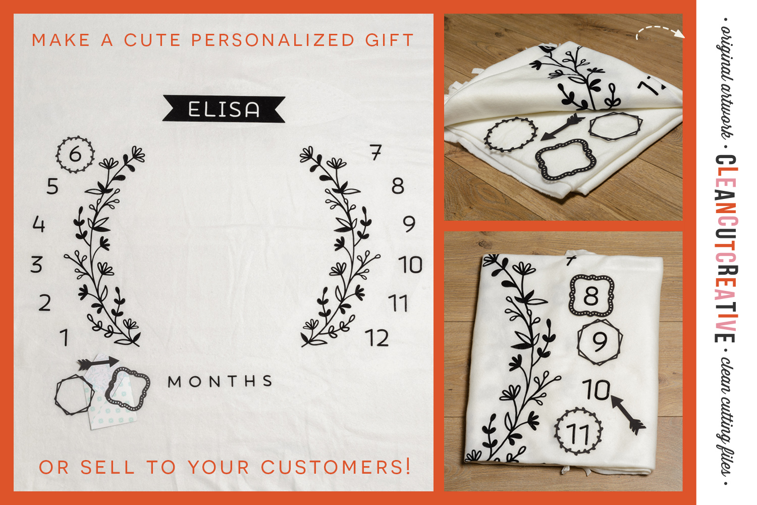 Baby MONTHLY MILESTONE BLANKET - SVG design for crafters example image 2