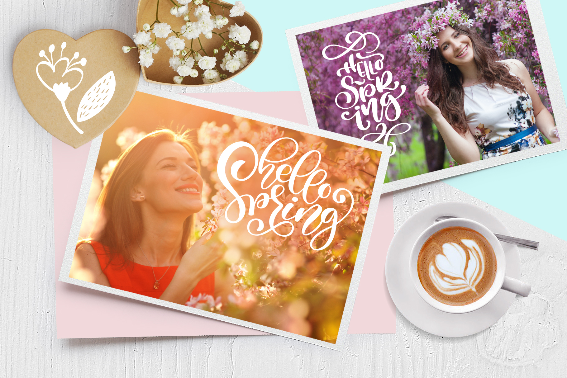 Spring vector lettering & floral greeting card example image 5