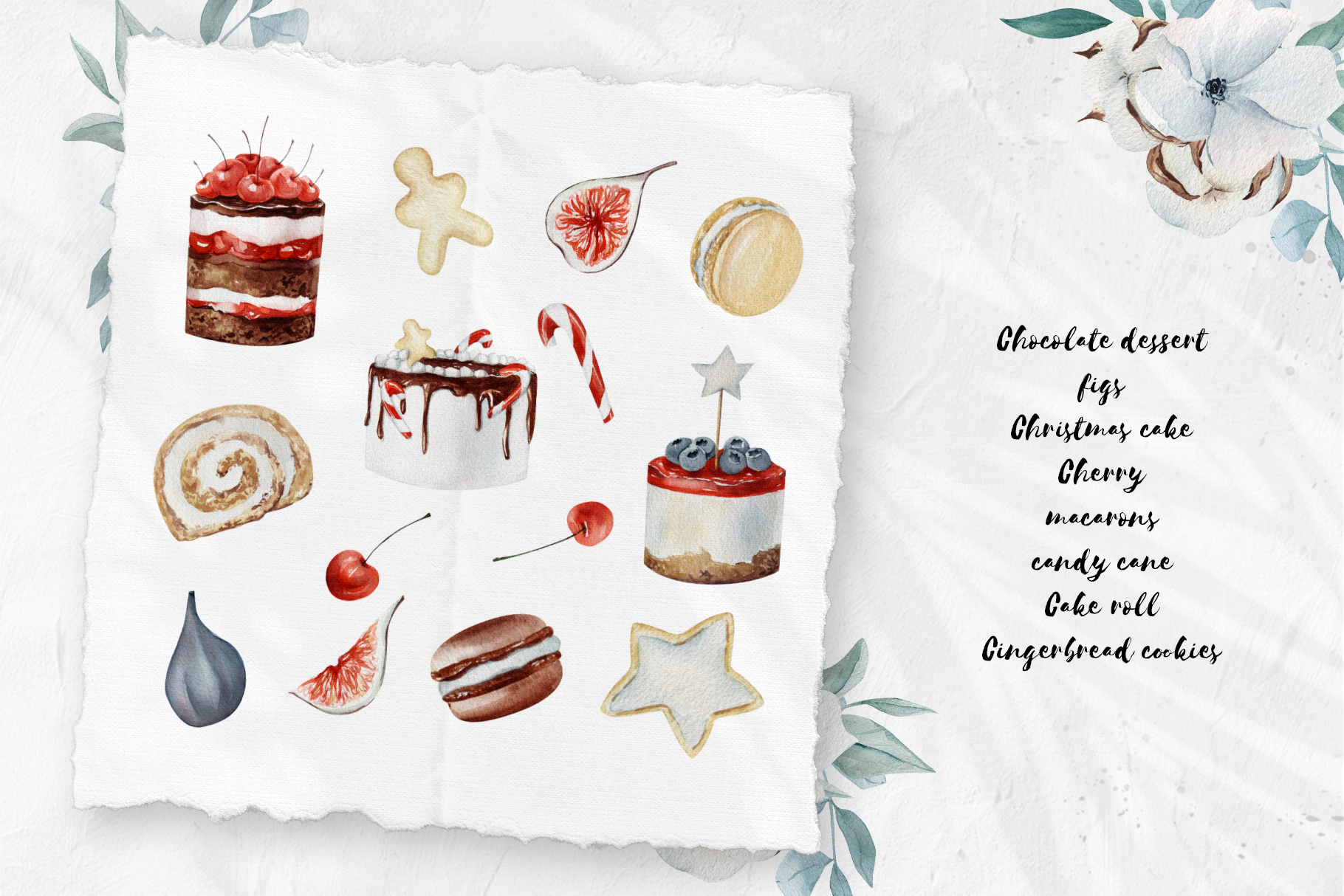 Christmas watercolor desserts example image 8