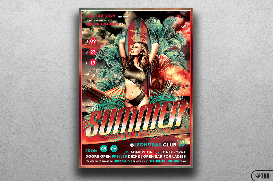 Beach Party Flyer Template V2 example image 1