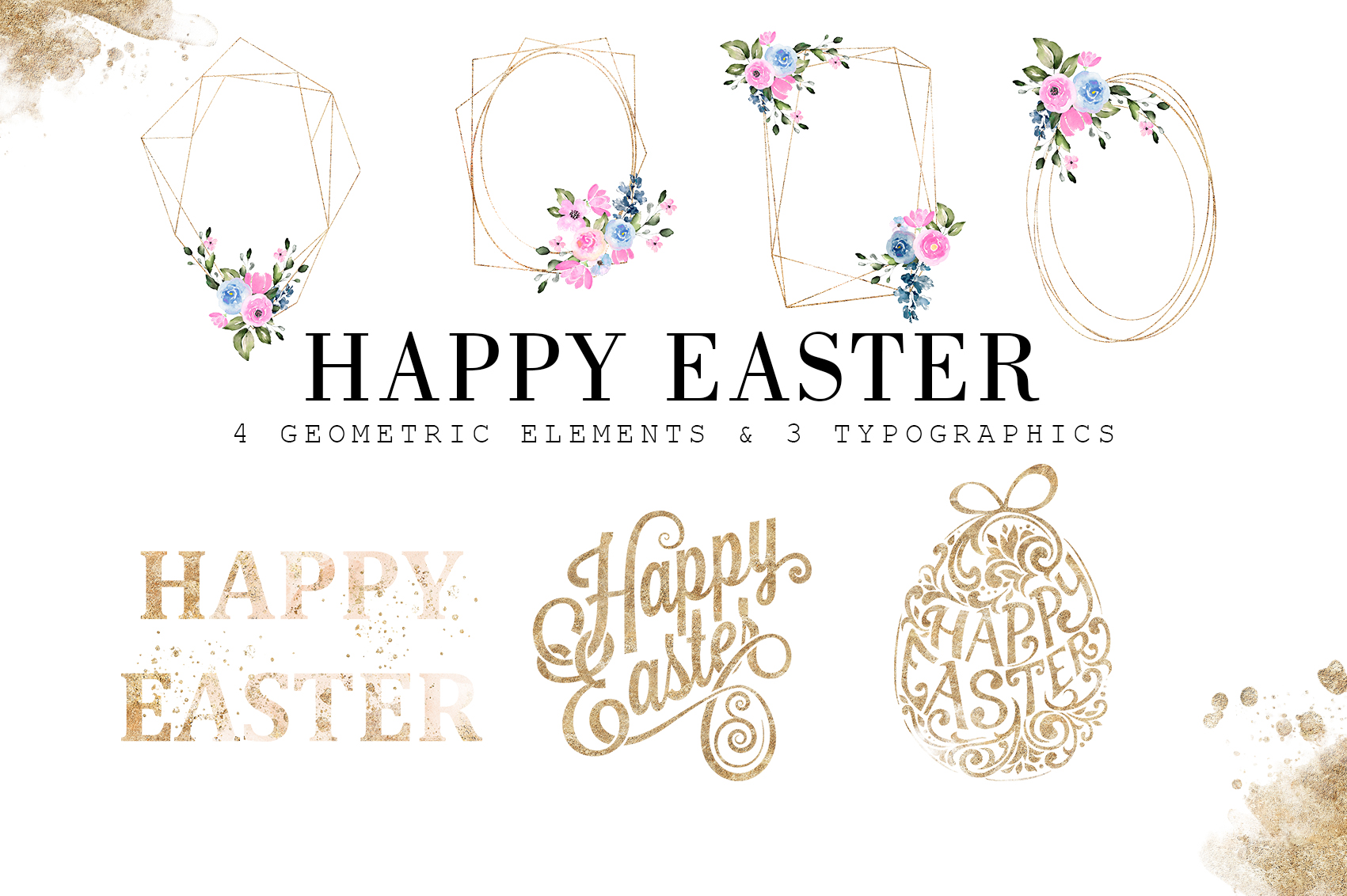 Happy Easter|Watercolor Elements clipArt example image 3