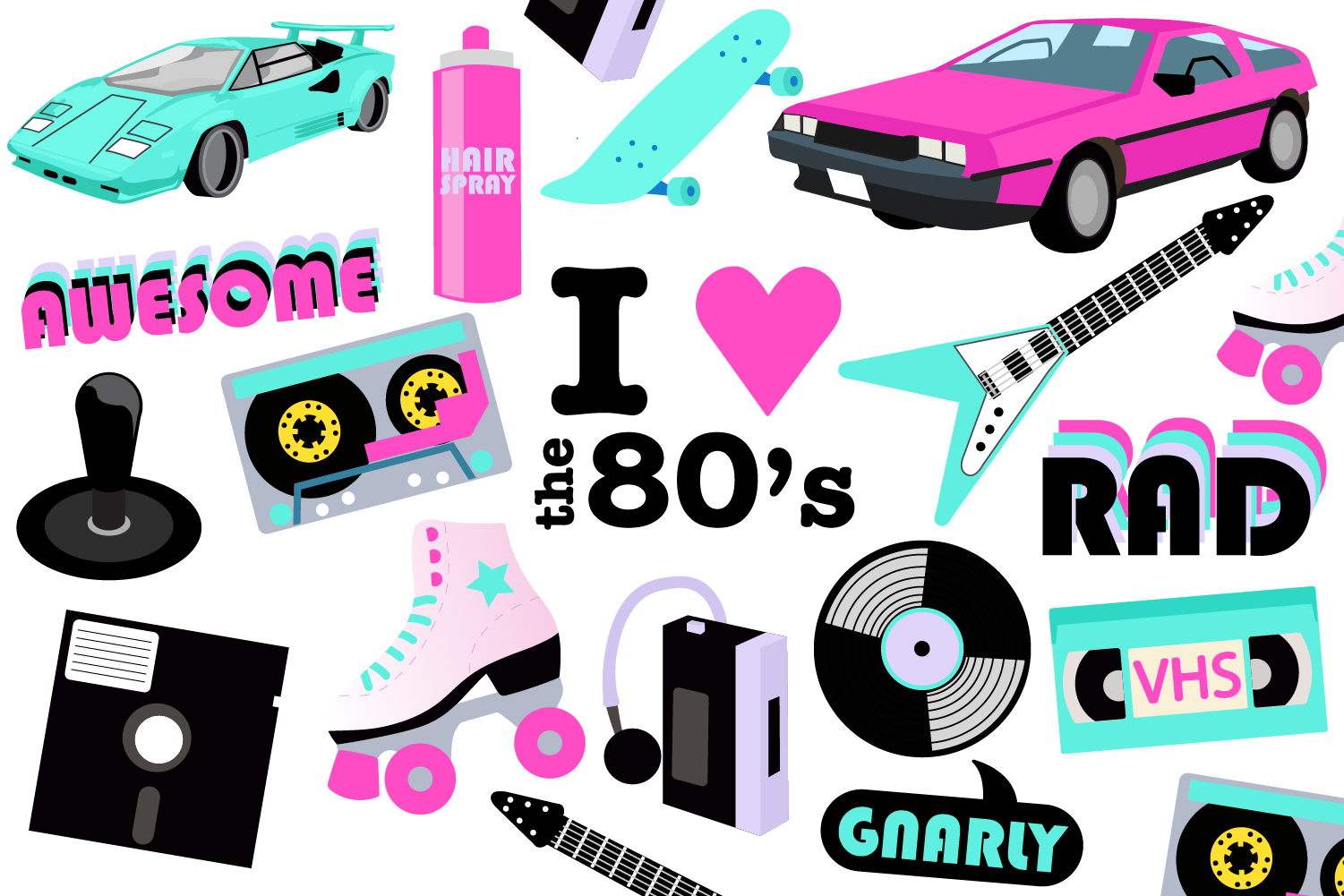 80s party clipart example image 1