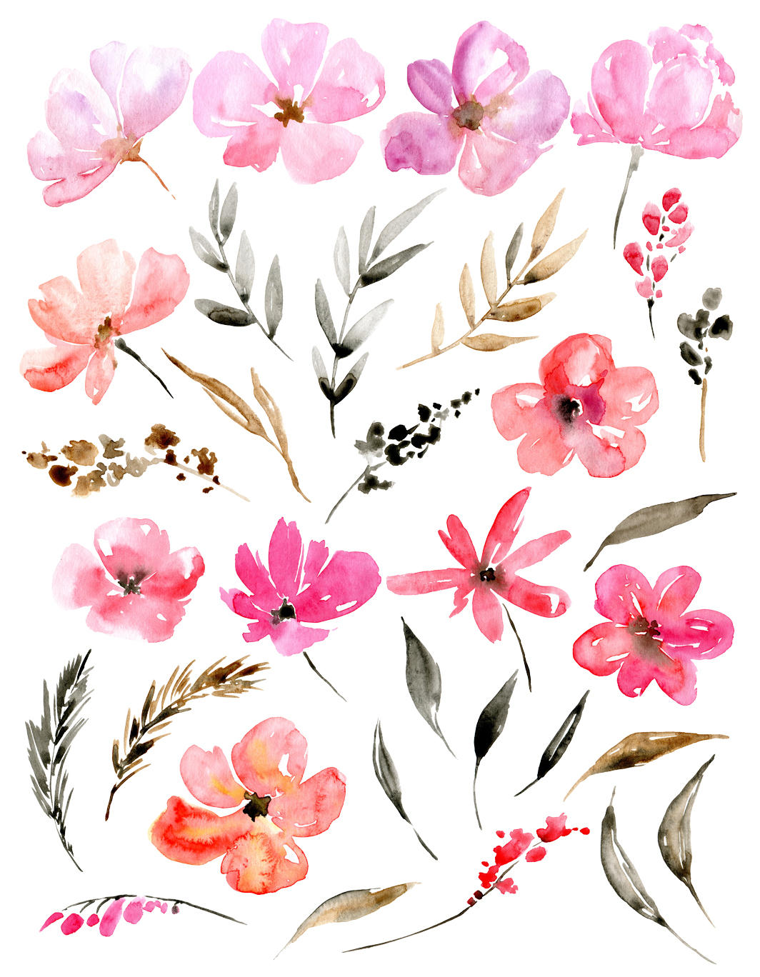 Pink watercolor garden flowers example image 2