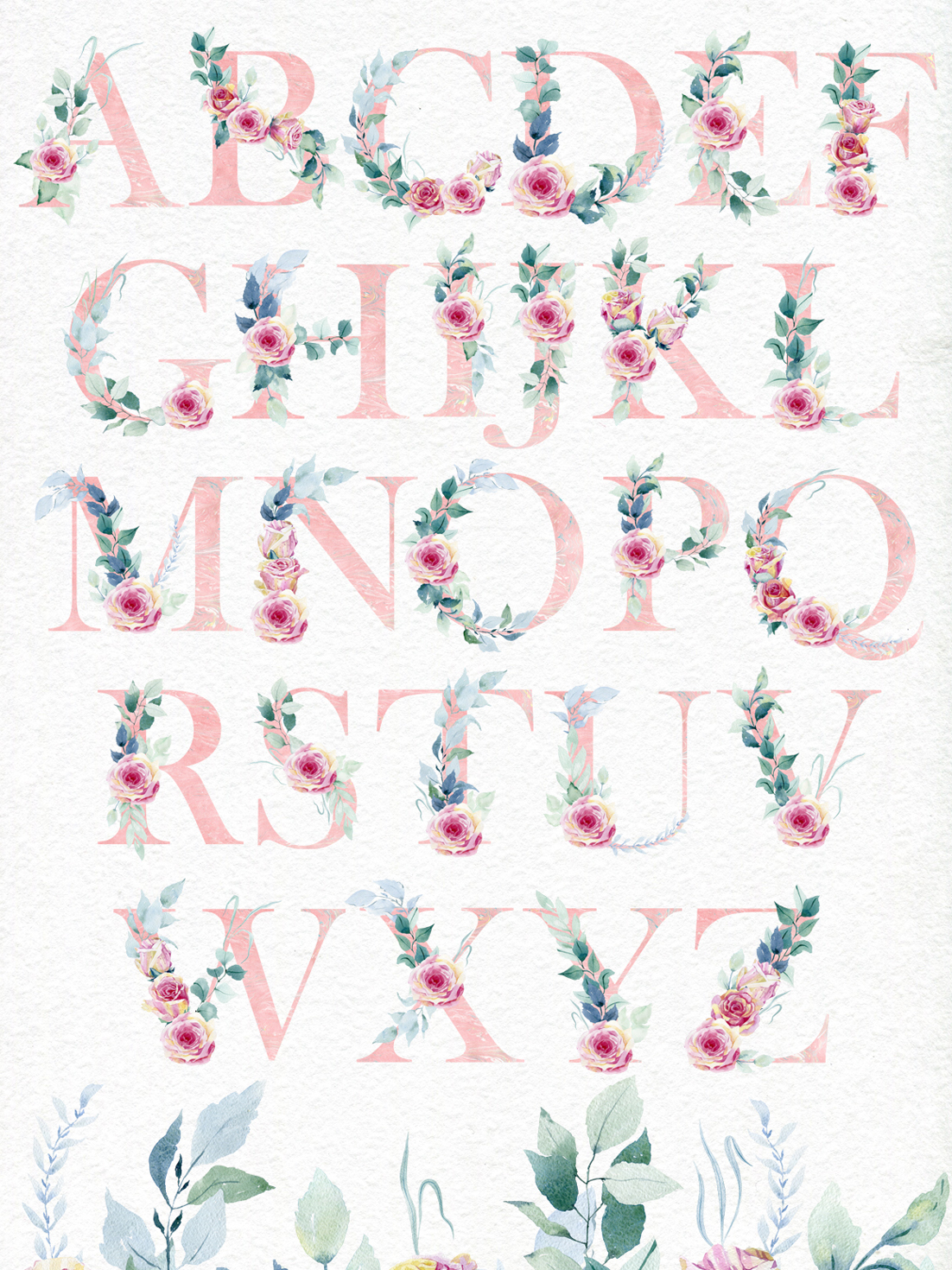 Watercolor roses. Alphabet. example image 4