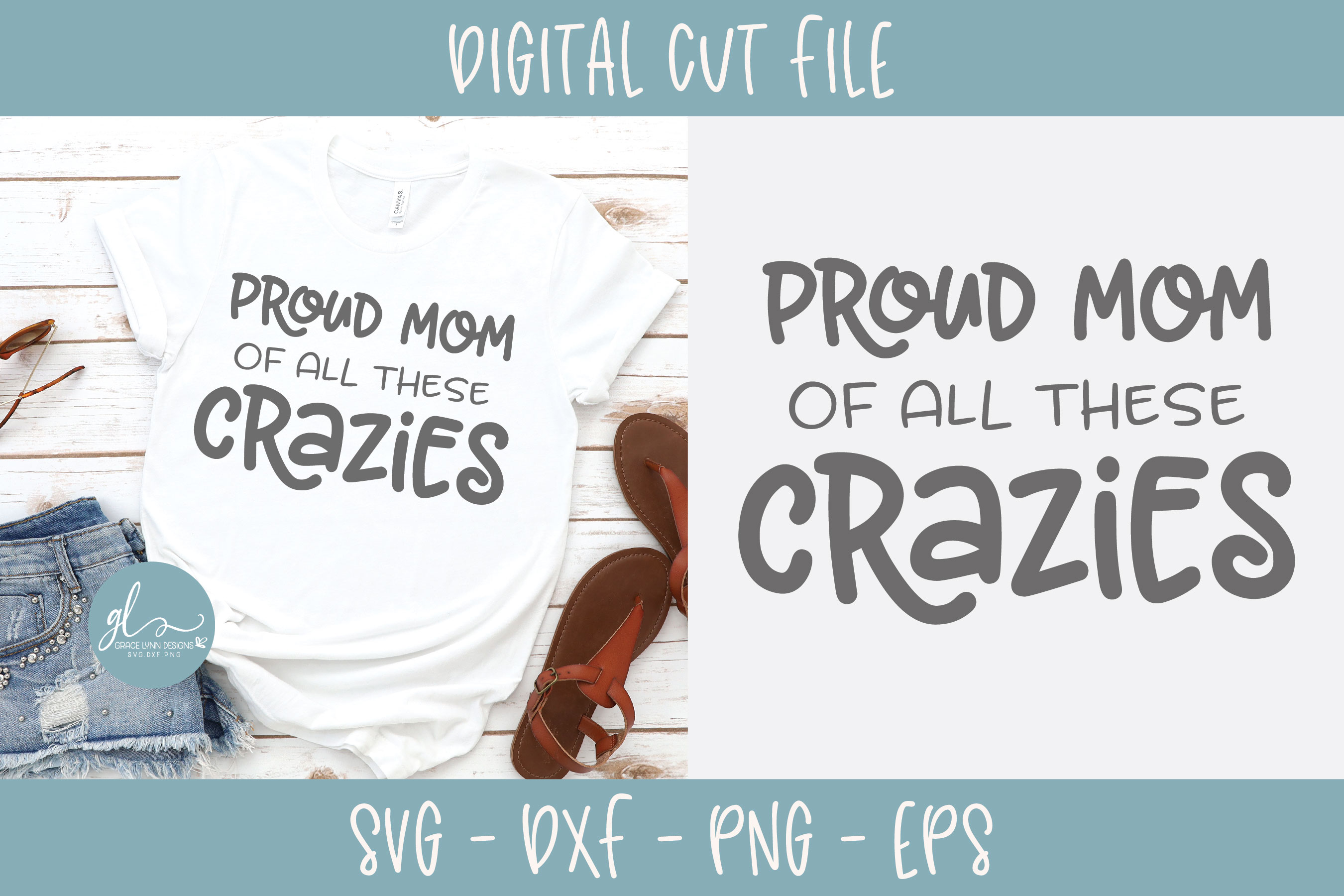 Proud Mom Of All These Crazies - SVG Cut File example image 1