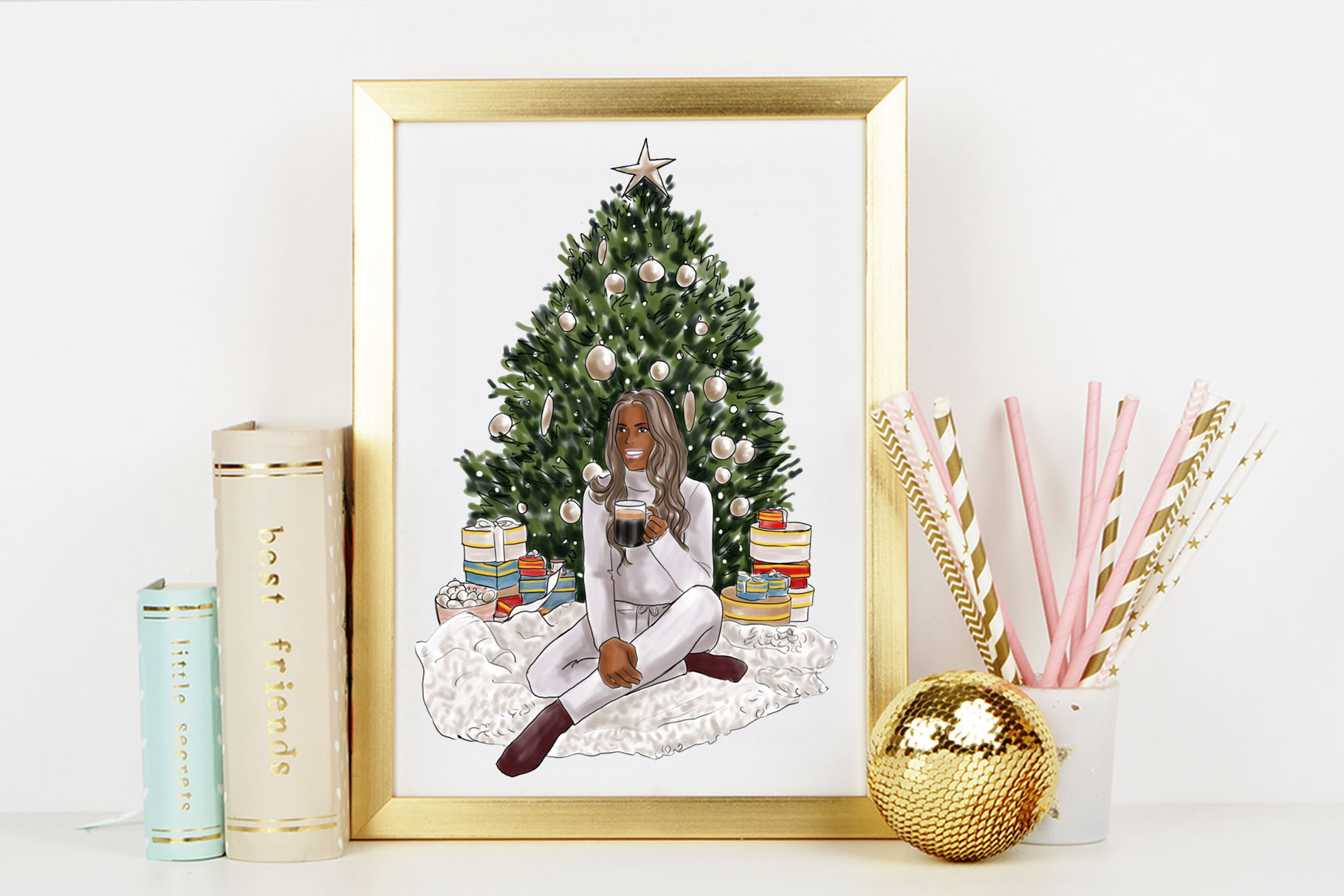 Fashion illustration - Christmas Girl 6 - Dark Skin example image 6