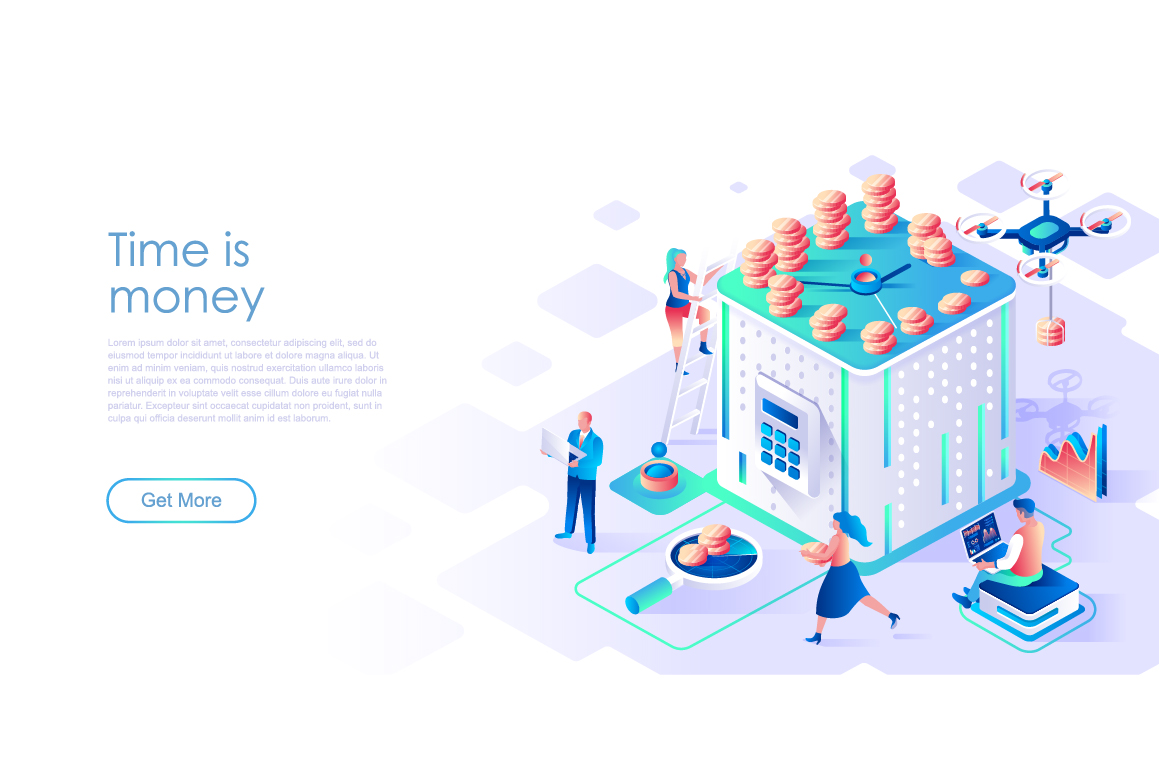 Bundle Isometric Landing Page Template Header example image 21