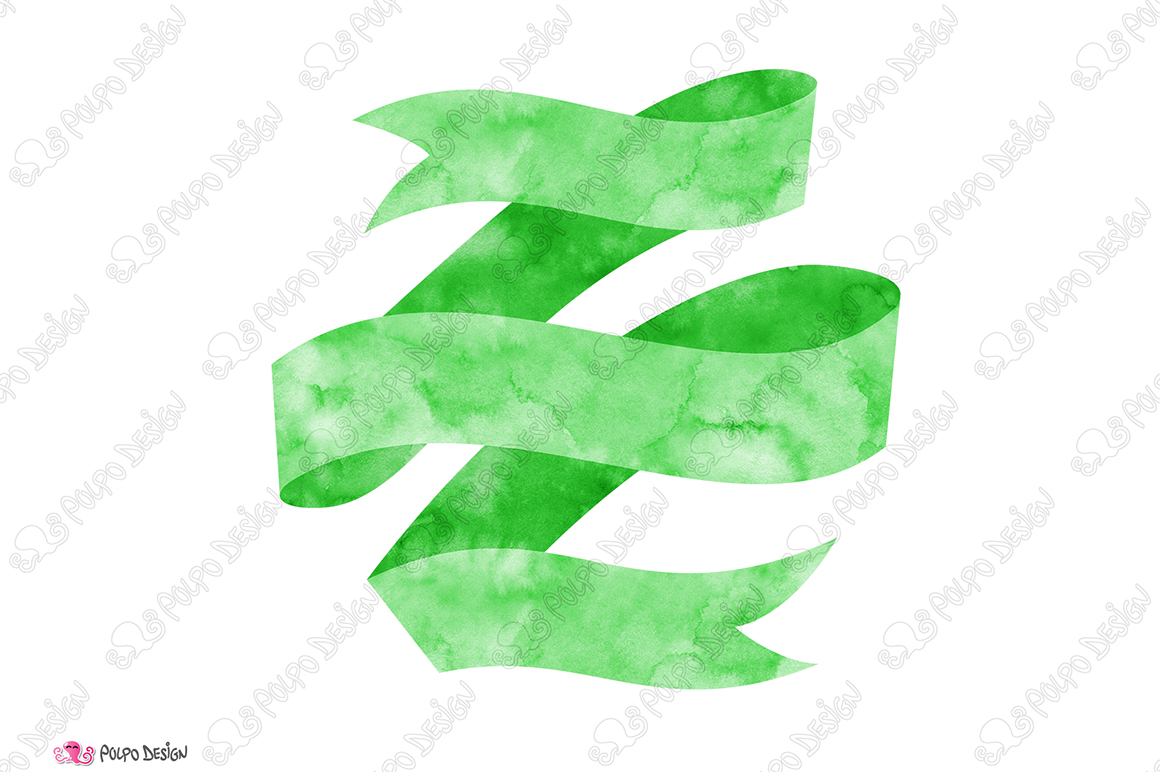 Green Watercolor Banner clip art example image 2