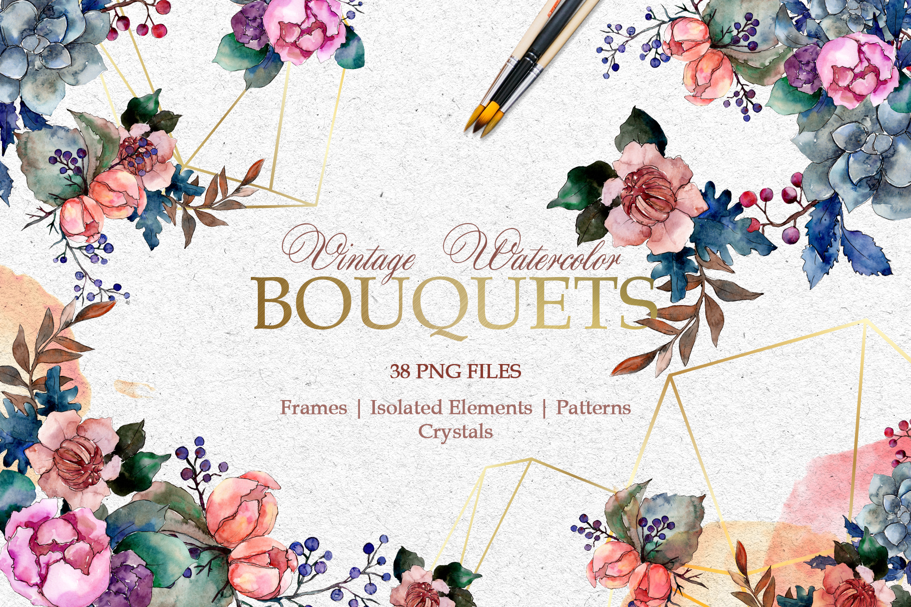 Bouquets Vintage flower Watercolor png example image 1