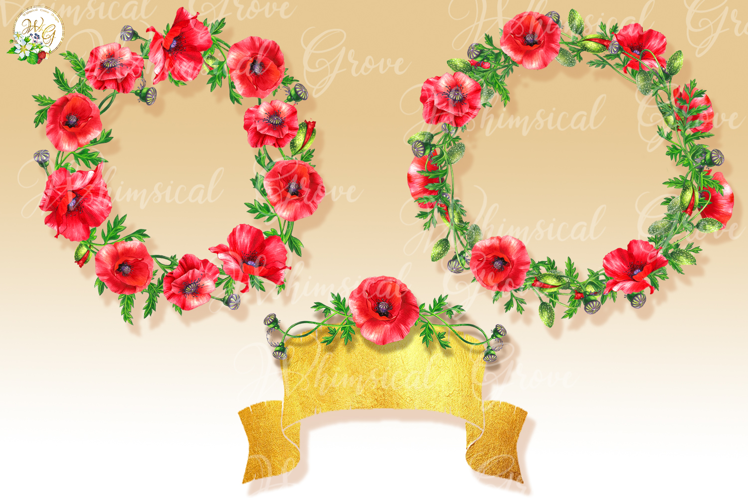 Scarlet Poppy set 18 watercolor handpainted clipart, floral, example image 3