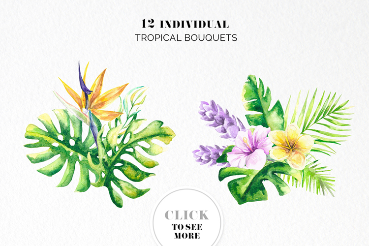 Tropical Floral Watercolor Collection example image 7