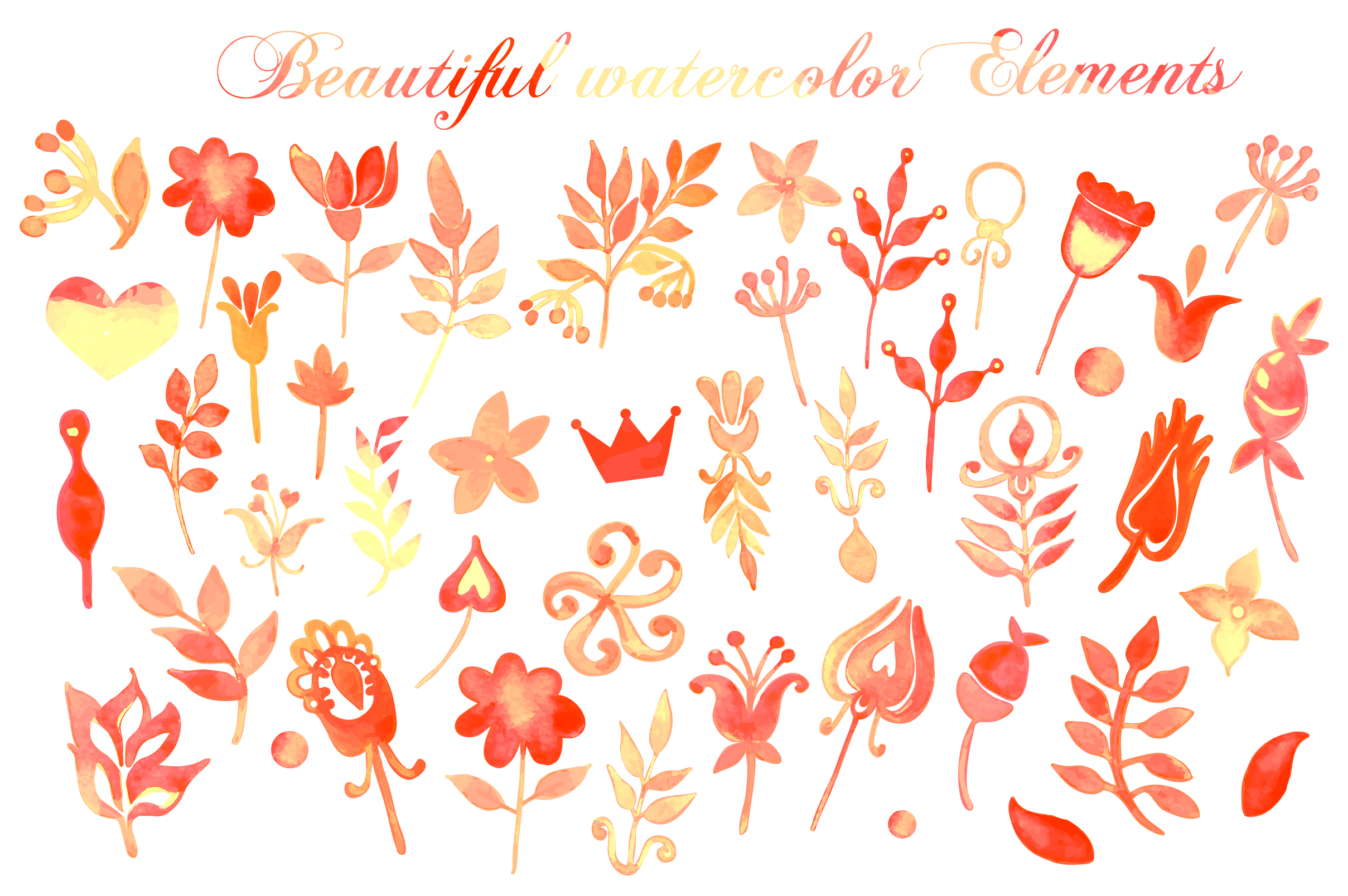 Hand Drawn watercolor elements example image 3