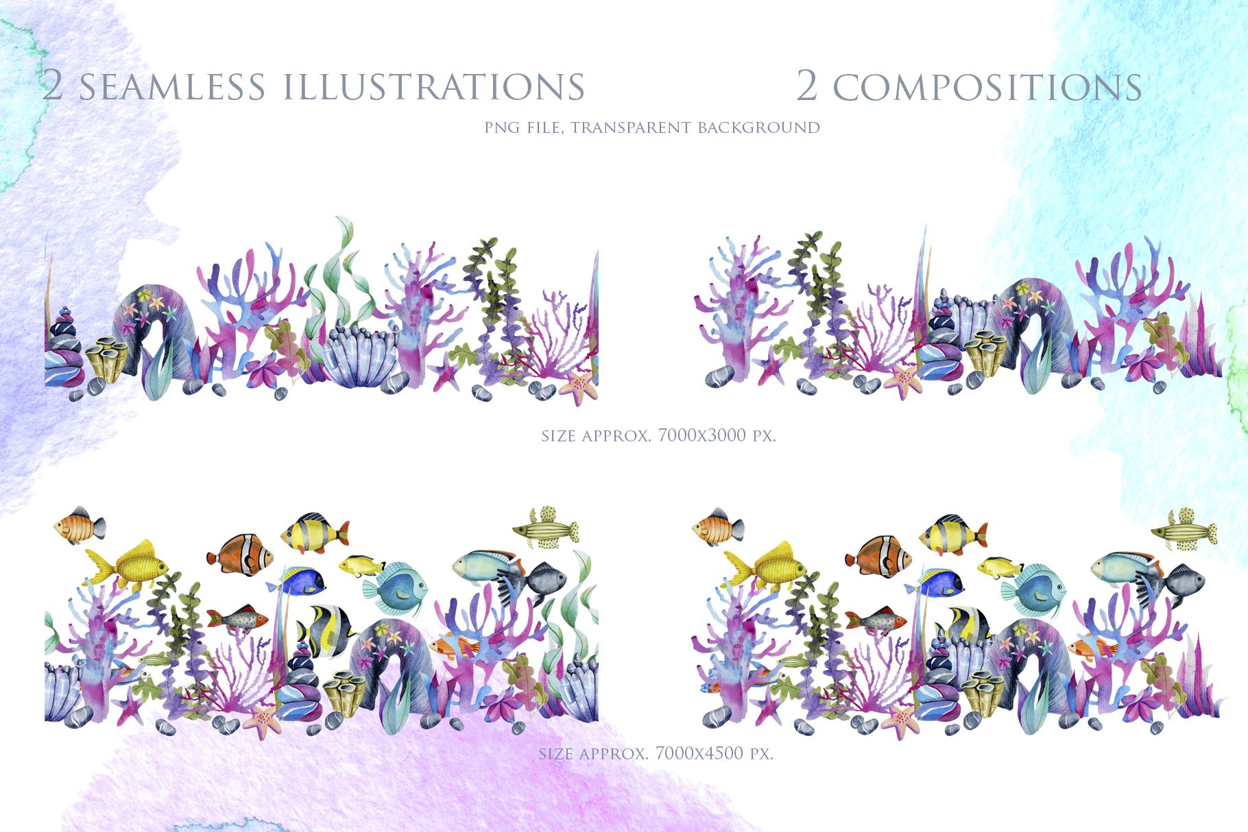 Sea life. Watercolor clip art. example image 8