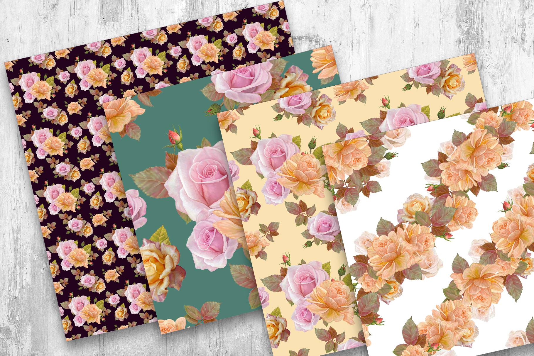 Roses Pattern, Seamless,Floral Digital Paper example image 6