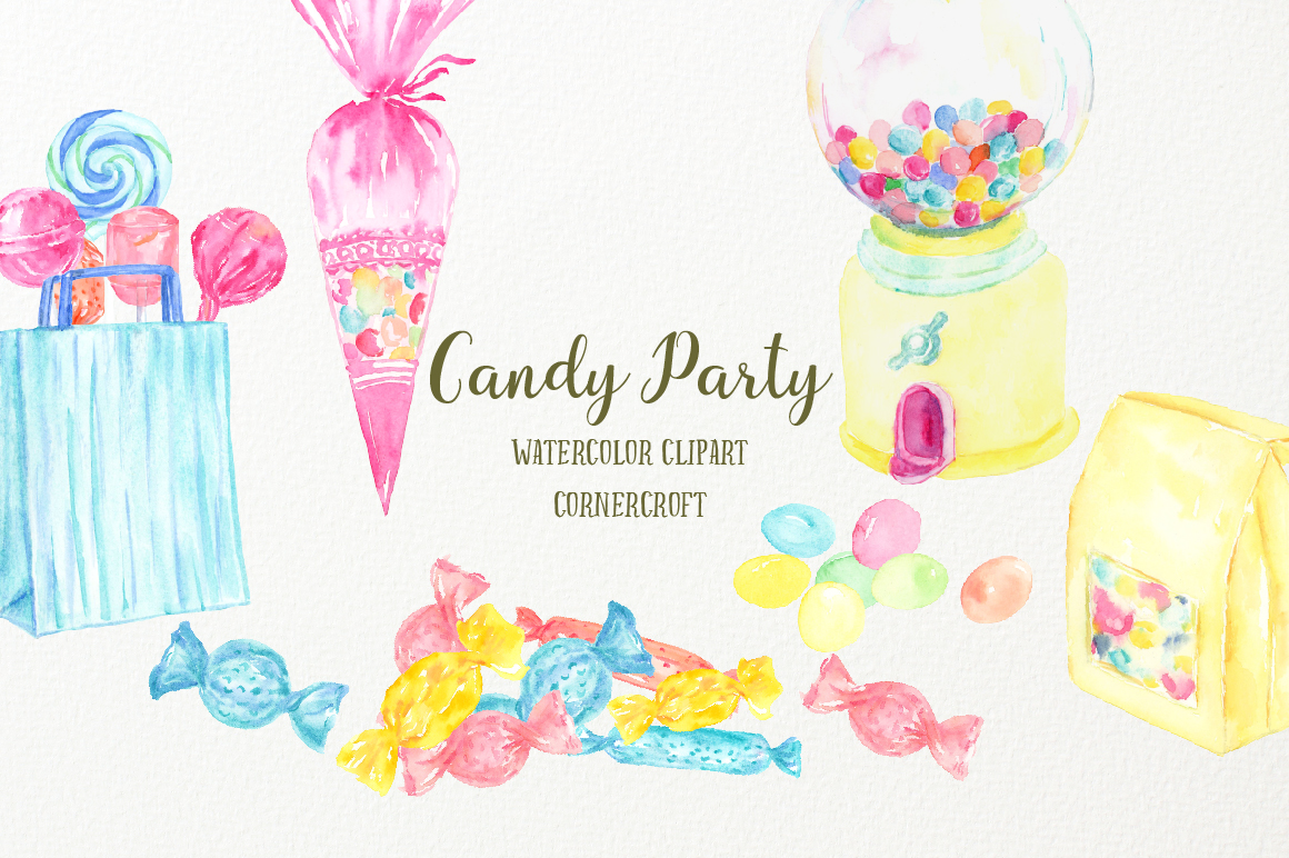Watercolor Candy Party Clip Art  example image 3