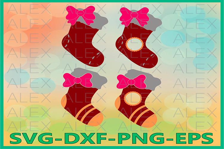 Santa Stockings SVG, Christmas Socks Svg, Christmas Socks example image 1