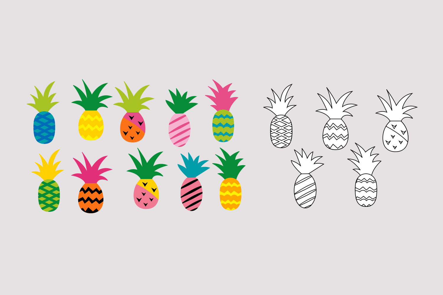 Colorful Pineapple clipart graphic / Funky Pineapples