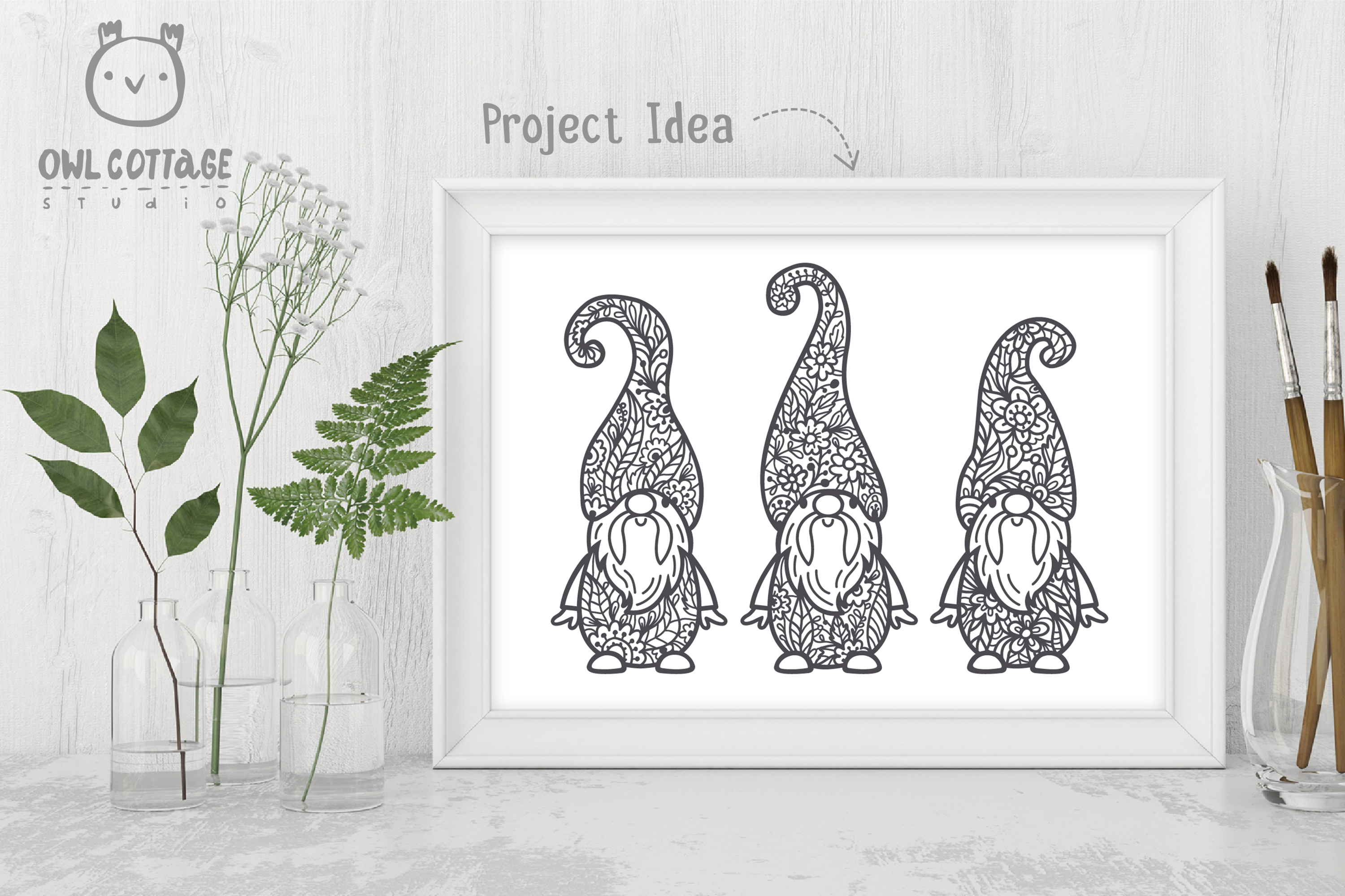 Scandinavian Floral Gnomes SVG, Gnome Clipart, Tomte example image 5