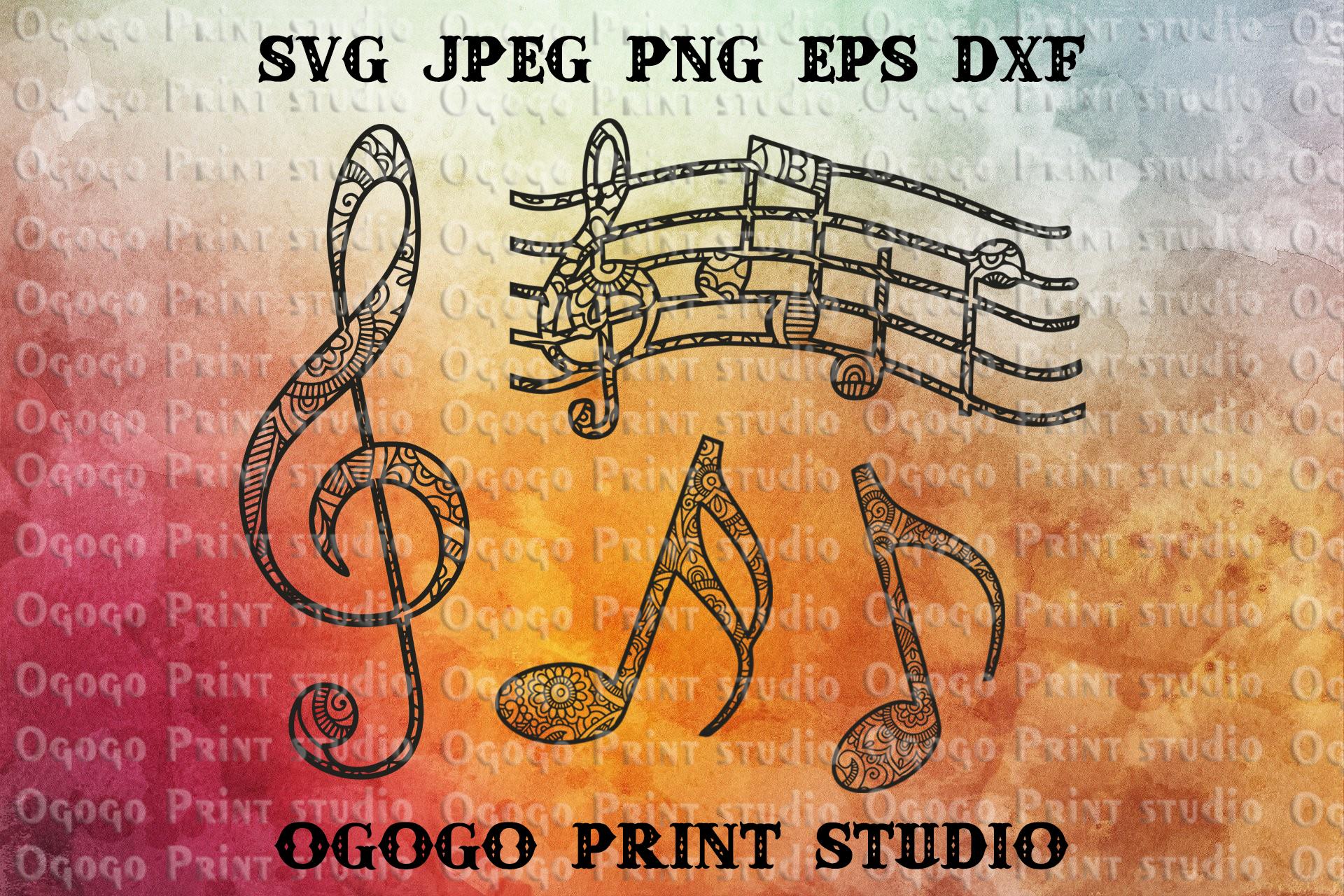 Music Svg, Zentangle SVG, Sheet music Mandala Svg, Cricut example image 1