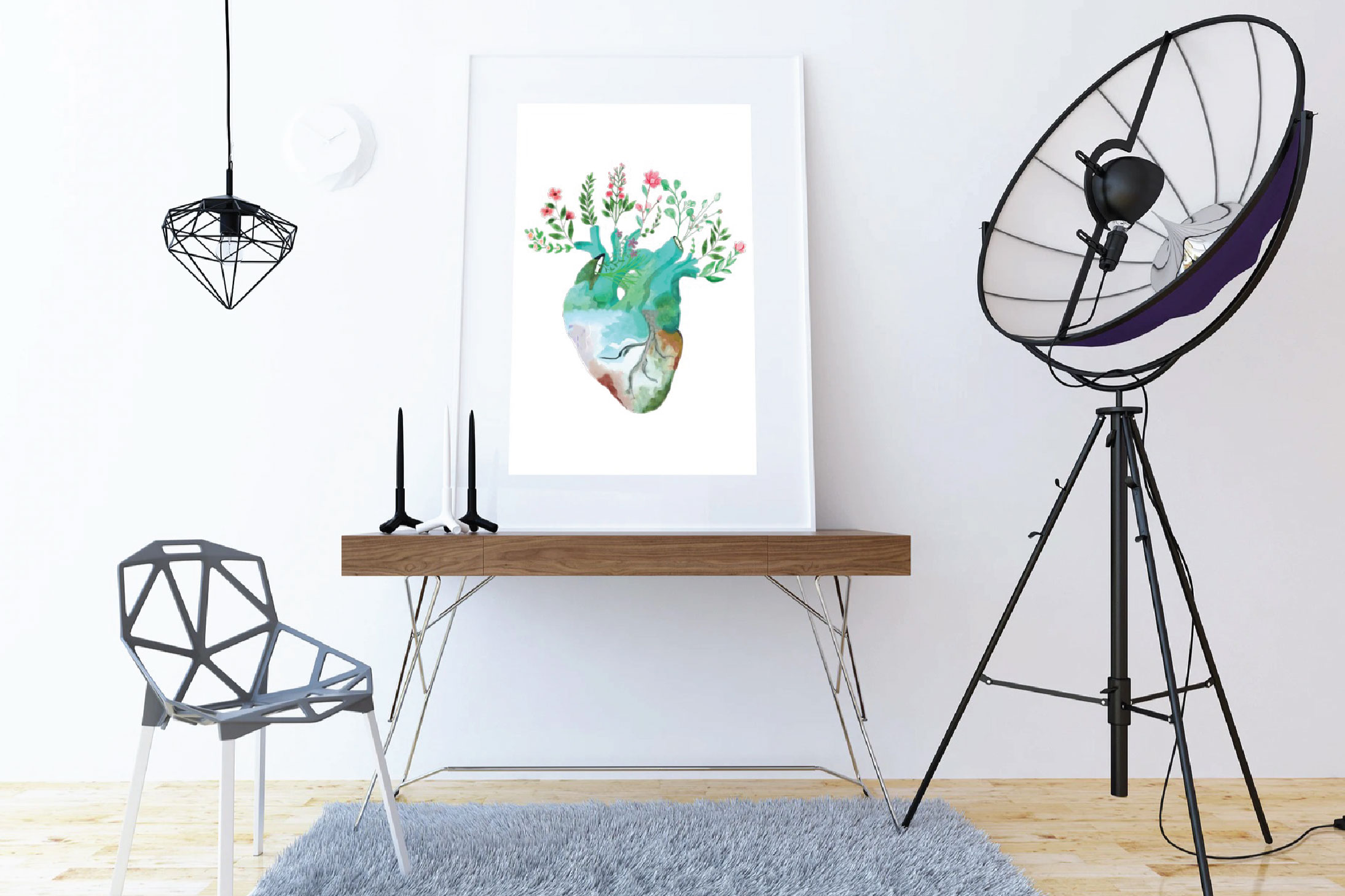 Floral anatomical human heart gift art. Valentine's day png. example image 5