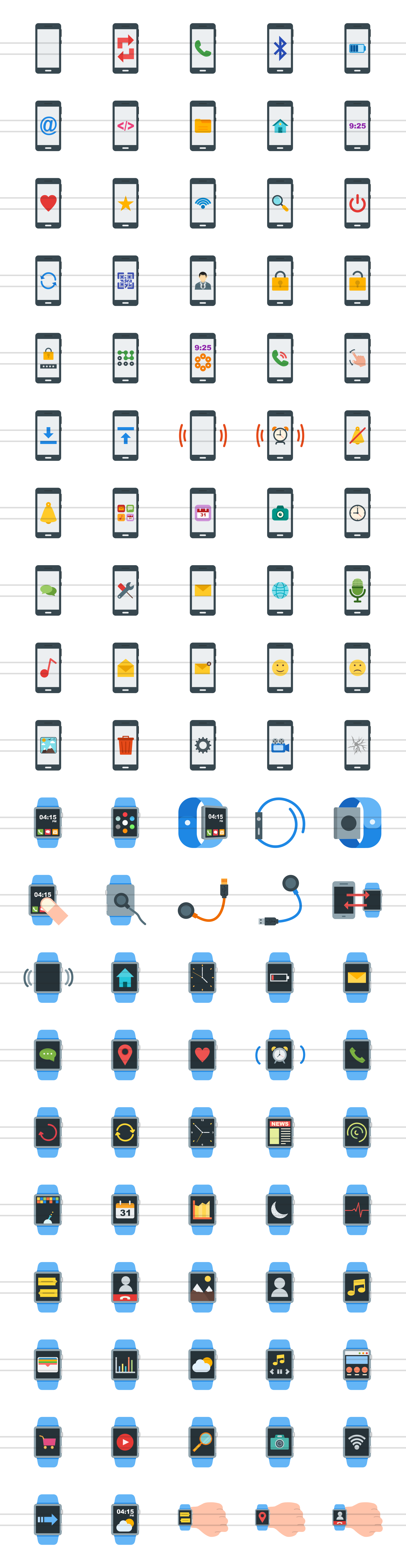 100 Smartphone & Smartwatch Flat Icons example image 2