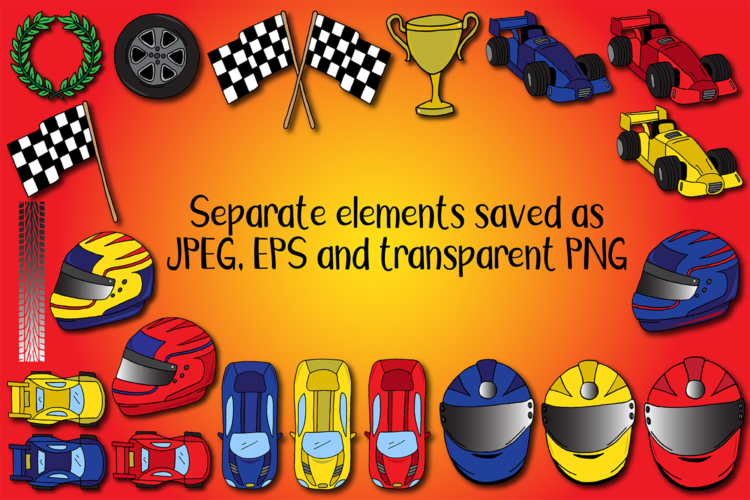 23 Racing Cars and Racetrack Graphics Illustrations Clipart example image 2
