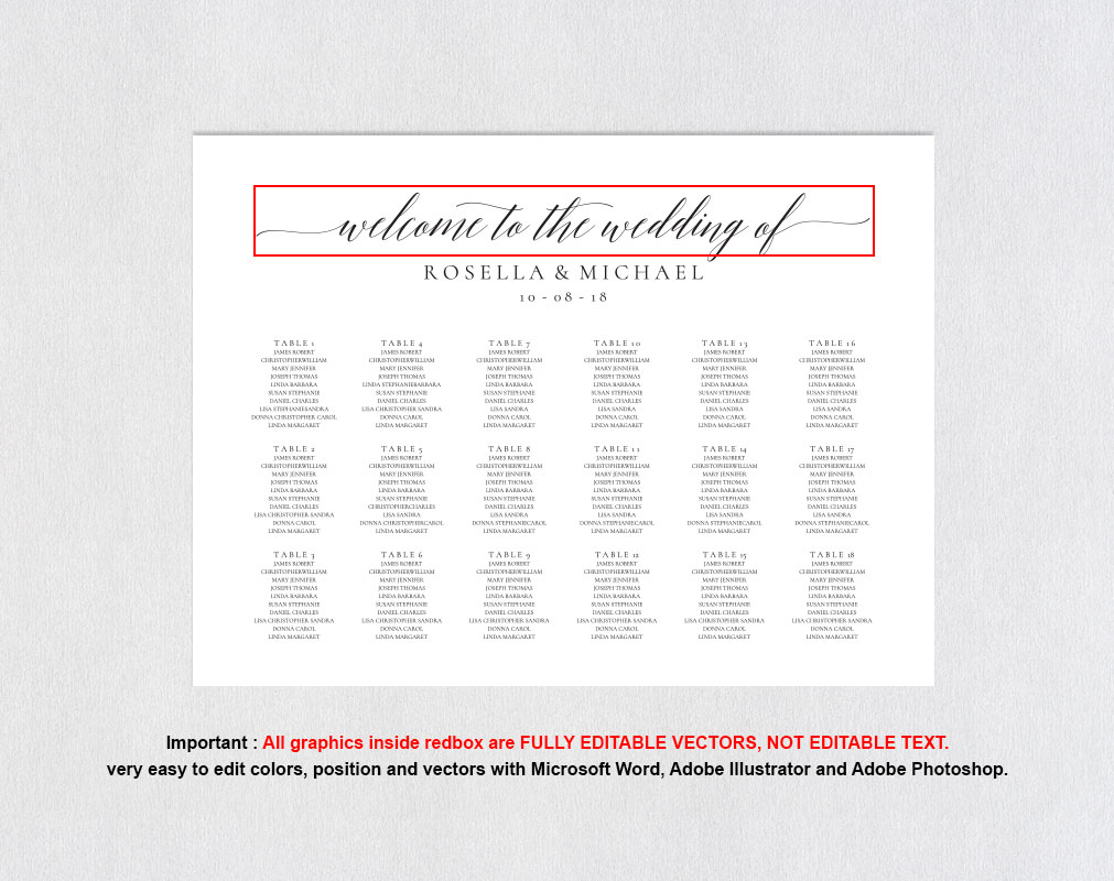 wedding seating chart sign landscape, TOS_15 example image 4