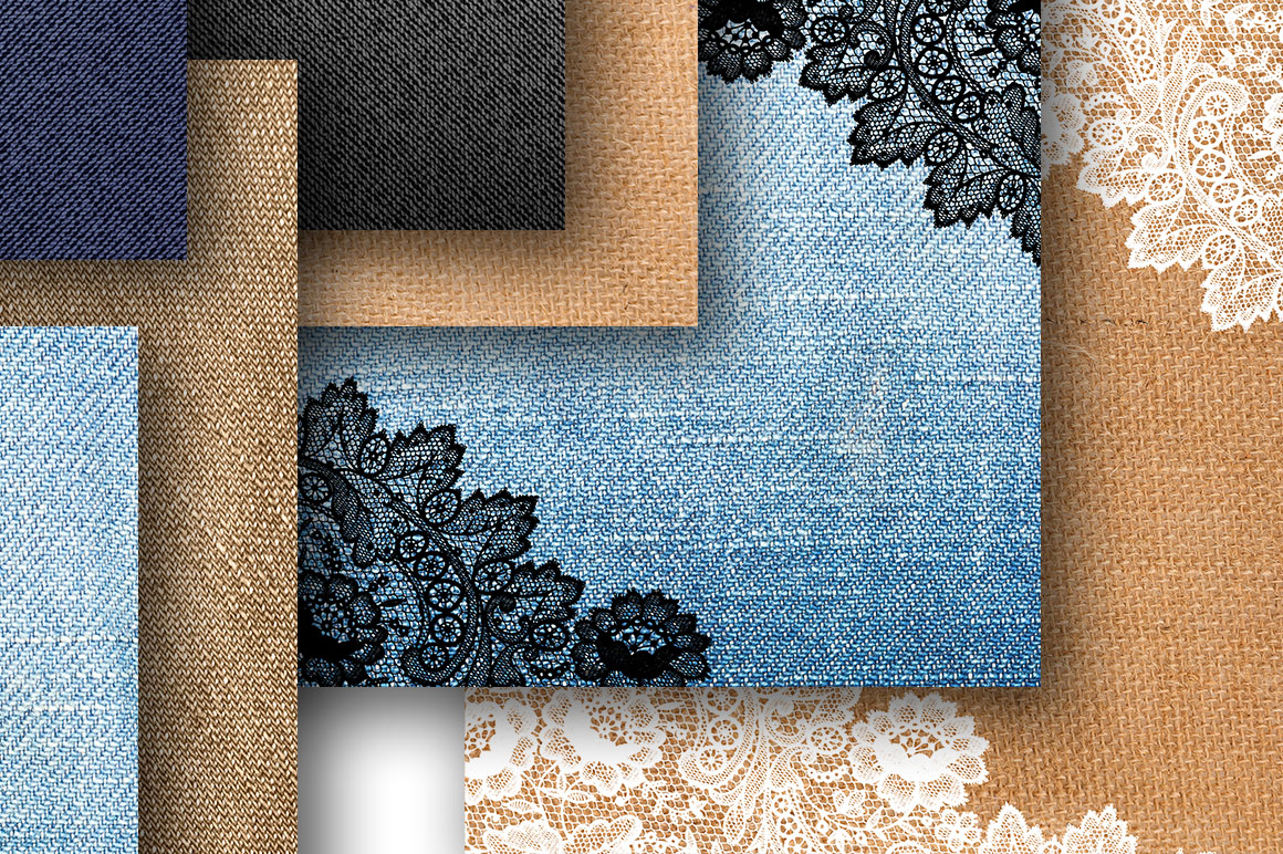 Denim and lace digital paper for scrapbooking example image 3