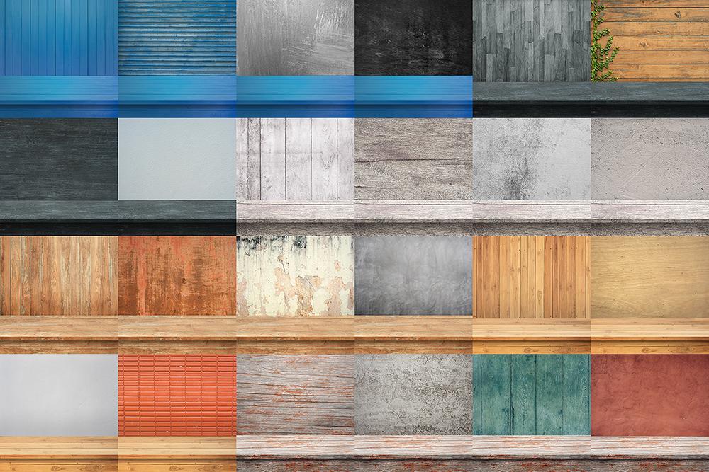 100 Realistic Shelves on Wall. Set 1 example image 7
