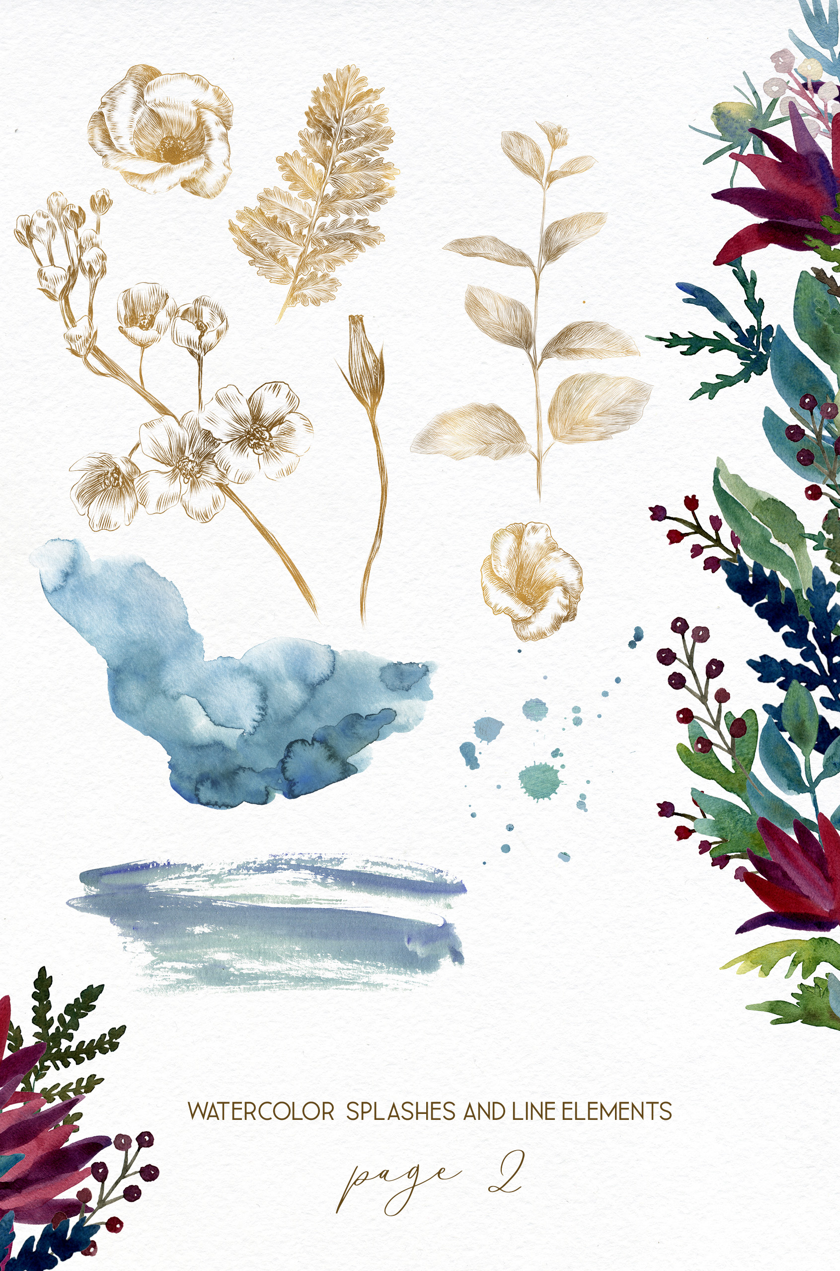 Watercolor anemone wedding floral bouquets, line art flower example image 3