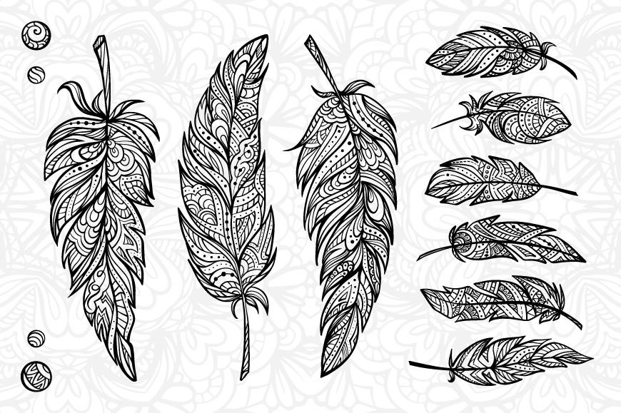 Boho feathers set example image 2