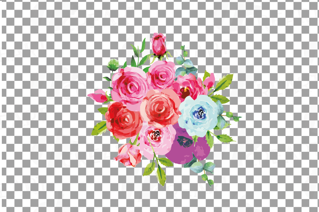 Boho pink and blue watercolor wedding bouquets, floral png example image 16