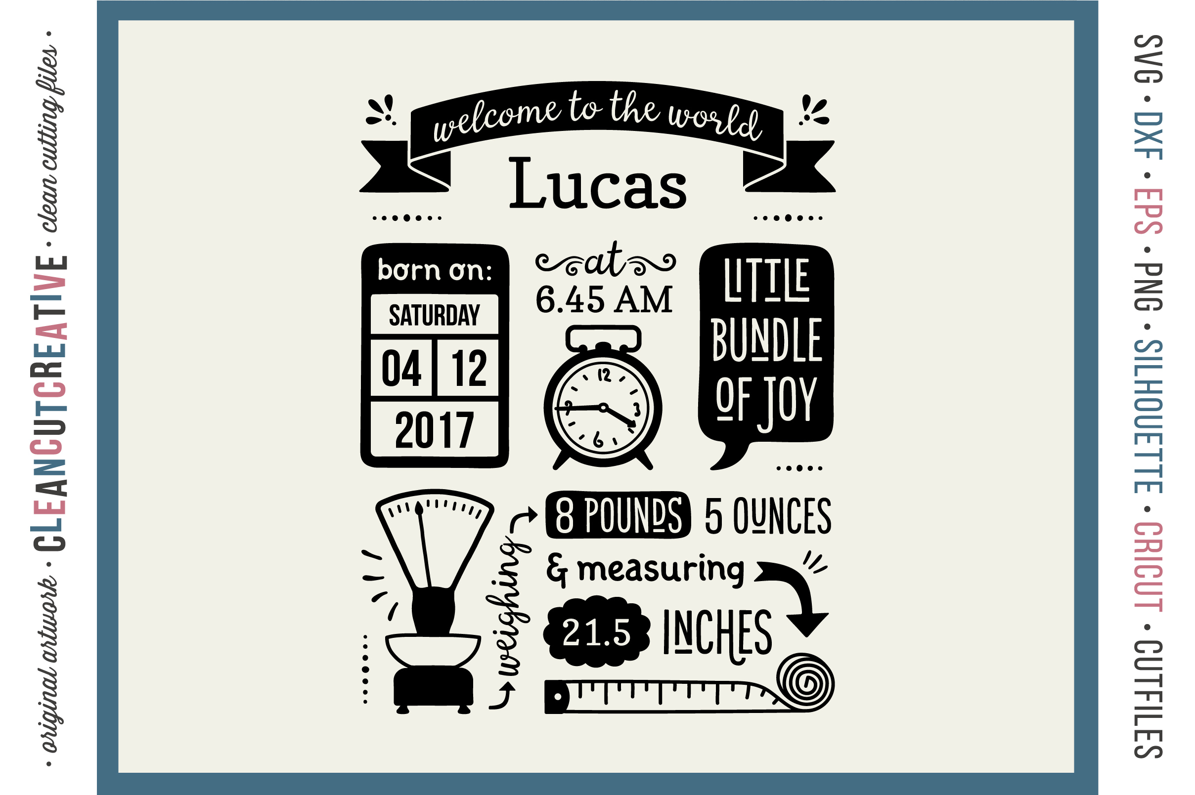 Baby Announcement Birth Stats SVG Template