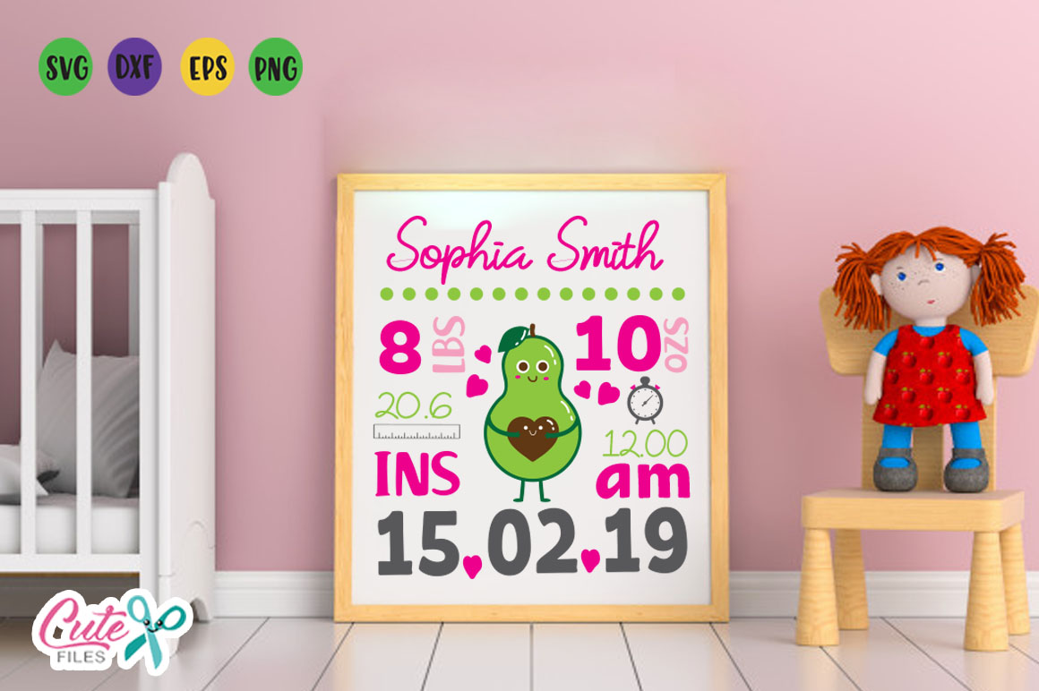 Baby Birth Announcement Template avocado svg file example image 1