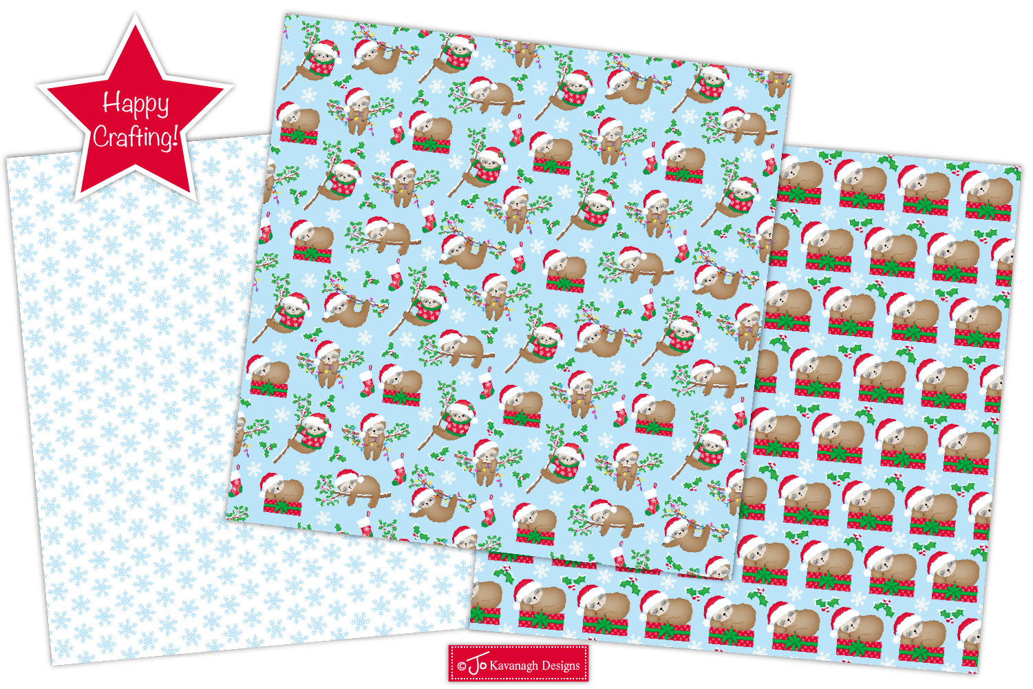 Christmas Sloth Digital Papers, Christmas Patterns -P43 example image 5