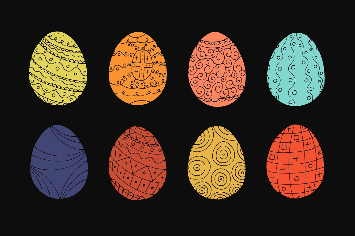 Color collection of Easter eggs. example image 3
