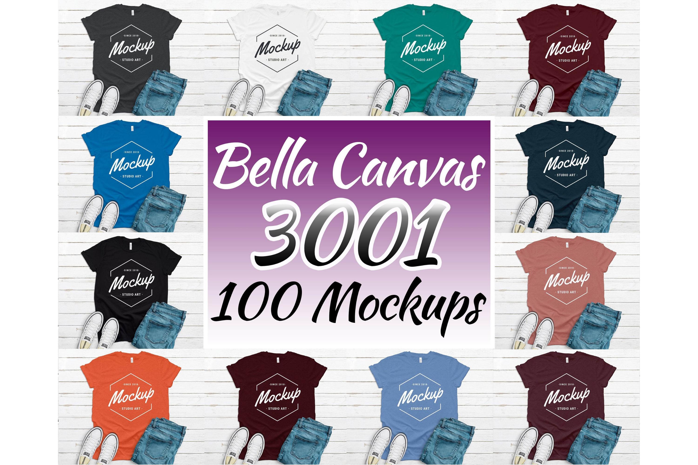 300 Mockups Bella Canvas 3001 Unisex Tshirt Flat Lay Mock Up example image 5