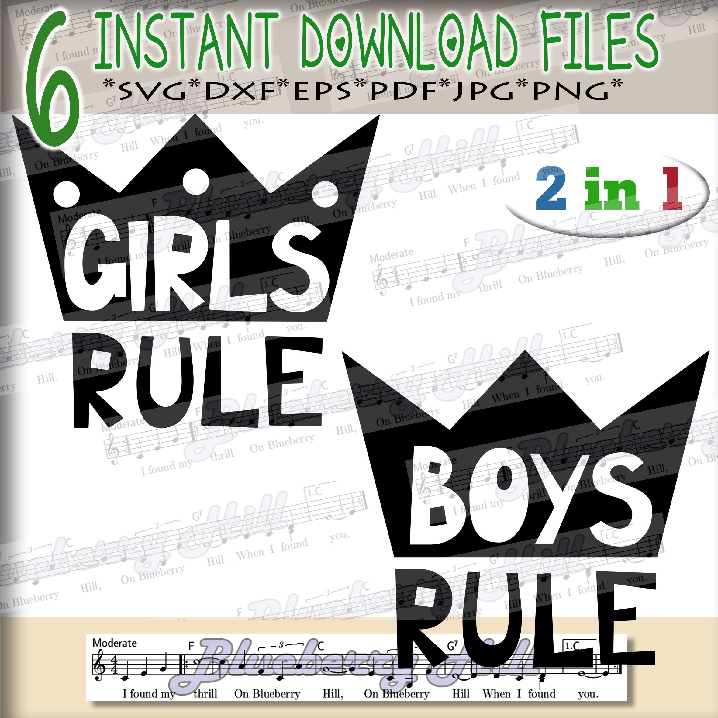 Girls rule Svg - Boys rule Svg -Digital Files - Svg digital example image 1