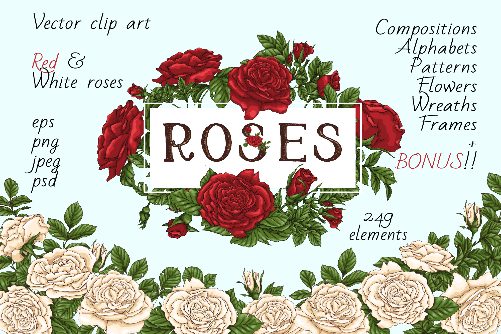 Roses – Vector Clip Art Set example image 1
