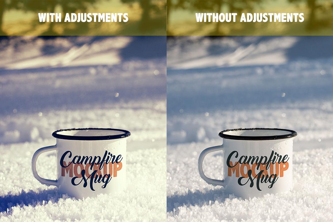 Enamel Mug Mockup / Tin Mug on Snow Mockup / Campfire Mug example image 2