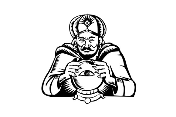Fortune Teller Eye on Crystall Ball Woodcut example image 1